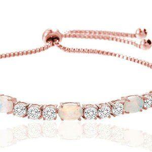 Fiery Opal Adjustable Tennis Bracelet Bolo Pink